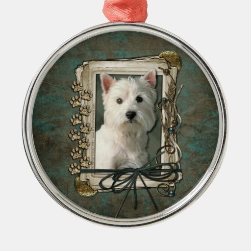 Happy Birthday - Stone Paws -West Highland Terrier Round Metal Christmas Ornament
