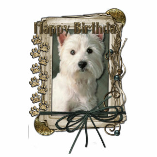 Happy Birthday - Stone Paws -West Highland Terrier Statuette
