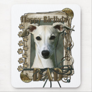 Happy Birthday - Stone Paws - Whippet - Dad Mouse Pad