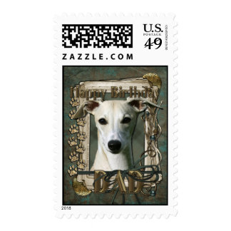 Happy Birthday - Stone Paws - Whippet - Dad Postage Stamps