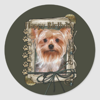 Happy Birthday - Stone Paws - Yorkshire Terrier Classic Round Sticker