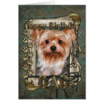 Happy Birthday - Stone Paws -Yorkshire Terrier Dad Greeting Card