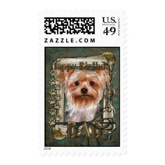 Happy Birthday - Stone Paws -Yorkshire Terrier Dad Stamps