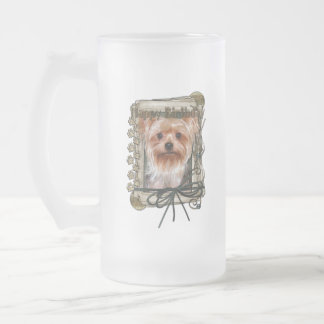 Happy Birthday - Stone Paws - Yorkshire Terrier Frosted Glass Beer Mug