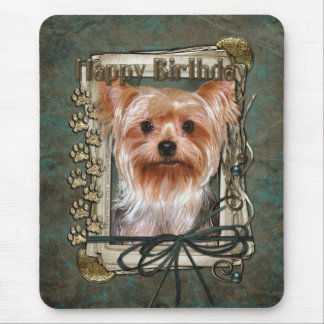 Happy Birthday - Stone Paws - Yorkshire Terrier Mouse Pad