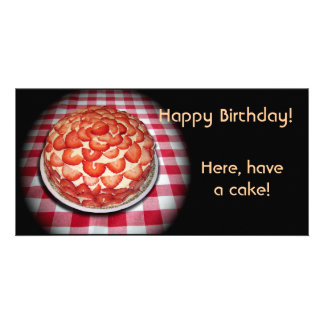 Happy Birthday Strawberry Cake Photo Card