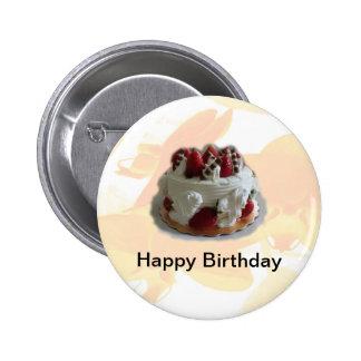 happy birthday strawberry chocolate cake pinback buttons