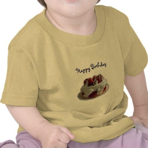 happy birthday strawberry, chocolate cake tee shirt