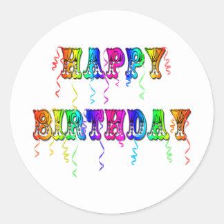 Happy Birthday Streamers Classic Round Sticker