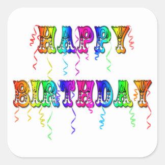 Happy Birthday Streamers Square Sticker