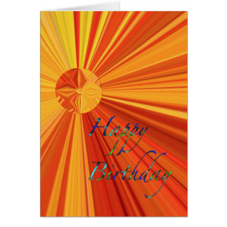 Happy Birthday streaming orange & yellow Sunburst Card