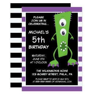 Happy Birthday | Striped Monster Card