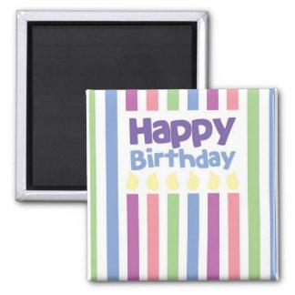 Happy Birthday stripey card 2 Inch Square Magnet