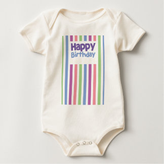Happy Birthday stripey card Baby Bodysuit