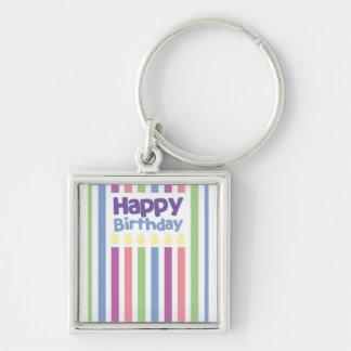 Happy Birthday stripey card Keychain