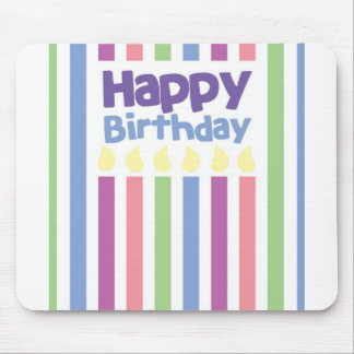Happy Birthday stripey card Mouse Pad