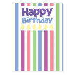 Happy Birthday stripey card Post Cards