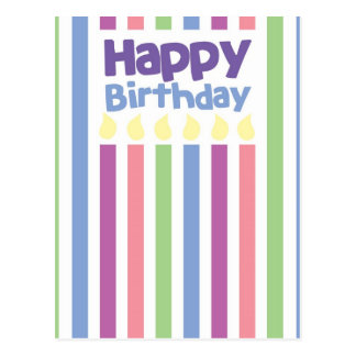 Happy Birthday stripey card Postcard