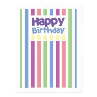 Happy Birthday stripey card Post Card