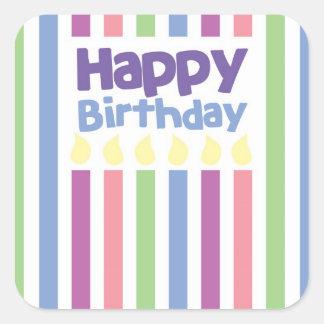Happy Birthday stripey card Square Sticker
