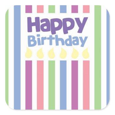 wickedgreetings Happy Birthday stripey card Square Sticker
