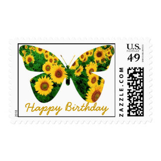 Happy Birthday, Sunflower Butterfly Postage