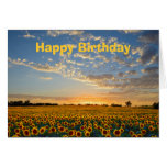 Happy Birthday Sunflowers at Sunset Greeting Card