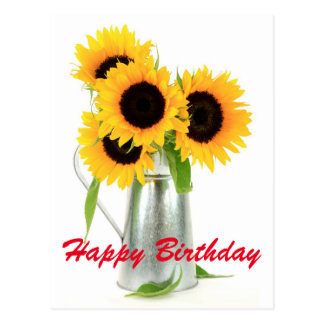 Happy Birthday Sunflowers Bouquet Postcard