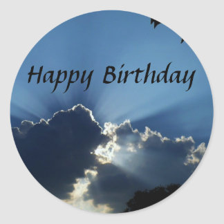 Happy Birthday, Sunrays Round Stickers