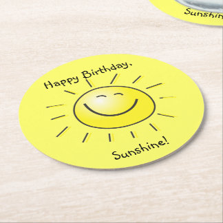 Happy Birthday, Sunshine! Round Paper Coaster