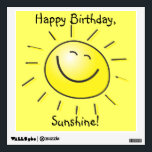 """Happy Birthday, Sunshine! Wall Decal<br><div class=""""desc"""">Brighten your someone special's birthday party decor with this square wall decal of a smiling yellow sun and the customizable sentiment,  """"Happy Birthday,  Sunshine!"""" See the entire Birthday Wall Decal collection in the DECOR 