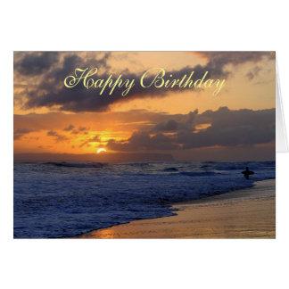 Happy Birthday, Surfer Kauai Beach Sunset Card