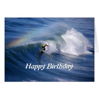 Happy Birthday Surfer With Rainbow Cards