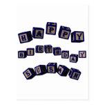 Happy Birthday Susan toy blocks in blue Post Cards