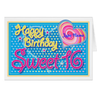 Happy Birthday Sweet 16 Card - Customize Name