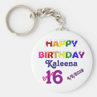 Happy Birthday Sweet 16 Keychain