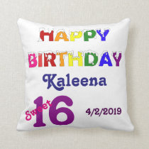 Happy Birthday Sweet 16 Throw Pillow