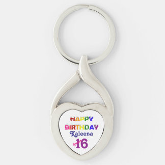 Happy Birthday Sweet 16 with Her Name Silver-Colored Heart-Shaped Metal Keychain