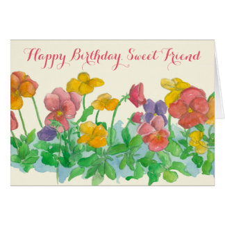 Happy Birthday Sweet Friend Pansy Flowers Card