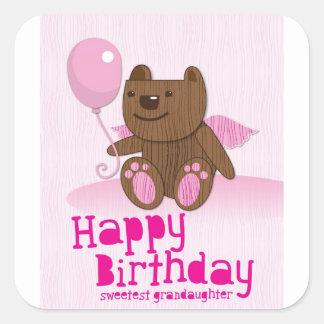 Happy Birthday Sweetest Grandaughter Square Sticker