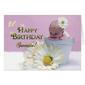 Happy  Birthday Sweetie - Baby in Flower Pot Card