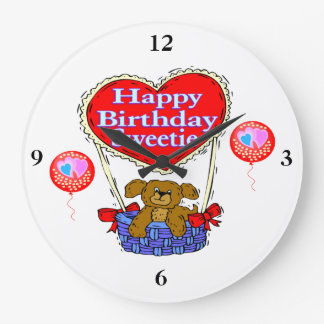 Happy Birthday Sweetie Puppy Large Clock
