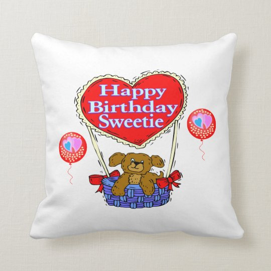 Happy Birthday Sweetie Puppy Throw Pillow