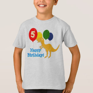 Happy Birthday T-Rex 5 Years Balloons T-Shirt