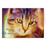 Happy Birthday Tabby Cat Art greeting card
