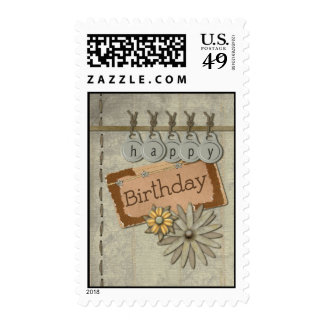Happy Birthday Tags Postage Stamps