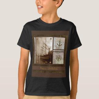 Happy Birthday, Tall Ships, Anchor, Maps, Compass T-Shirt