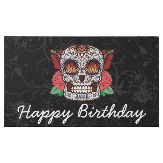 Happy Birthday Tattoo Sugar Skull Pink Roses Milk ...