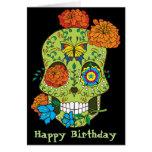 Happy Birthday Tattoo Sugar Skull Rose In Mouth Card at Zazzle