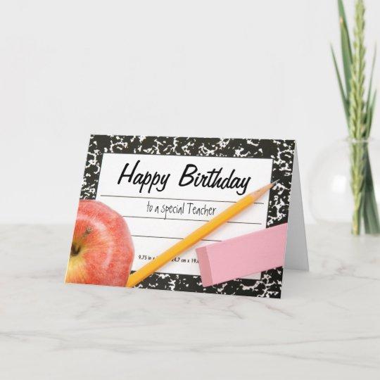 happy birthday teacher card  zazzle